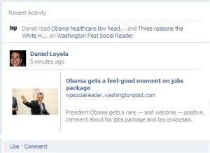 Ejemplo de lo que hacen la nuevas Apps en Facebook